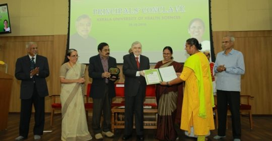 Kerala University of Health Sciences,Thrissur-The Best Teacher Award 2018 to Prof.Dr Lincy Joseph
